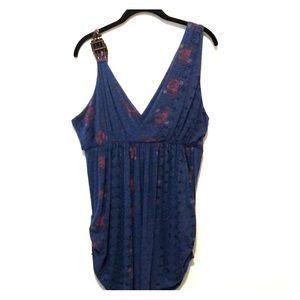 Free People Floral Wrap Beaded Tank Top Blue Large